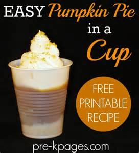 pumpkin pie in a cup recipe thanksgiving preschool