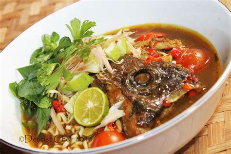 laksa asam fish recipe head soup malaysian penang malaysia noodle grouper spicy resep ikan sour dentistvschef chef sup kepala kerapu