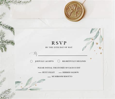 Greenery Wedding RSVP Enclosure Card with Boho Gold Leaf