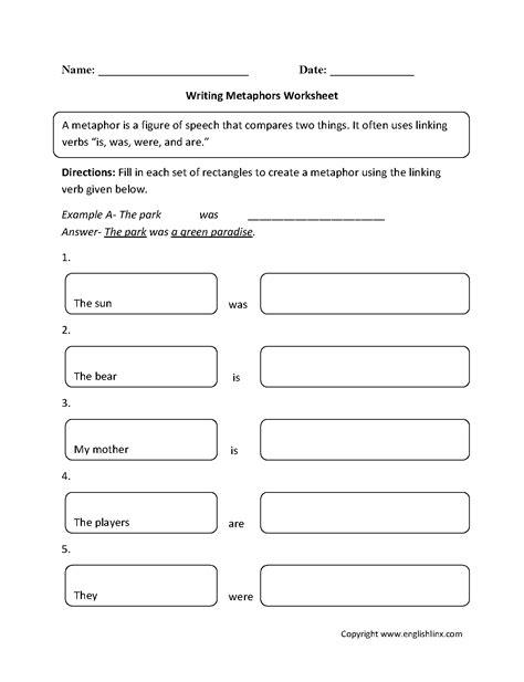 Englishlinxcom  Metaphors Worksheets