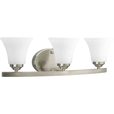 bathroom lighting collections progress lighting adorn collection 3 light brushed nickel