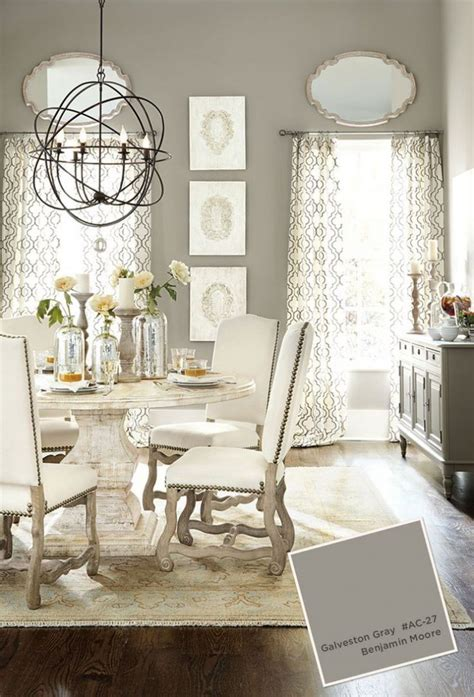 gray paint colors for dining room with white curtains and