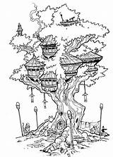 Tree Treehouse Coloring Pages Drawing Fairy Deviantart Inks Travisjhanson Colouring Drawings Adult Houses Sheets Sketch Treehouses Colorir Books Person Arvores sketch template