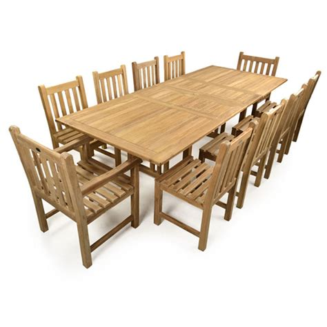 teak garden extending table and 10 chairs set homegenies