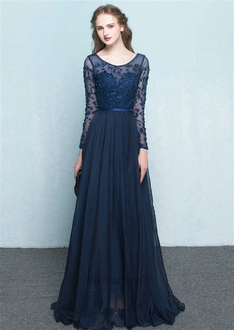 full length long lace sleeves navy blue prom dress