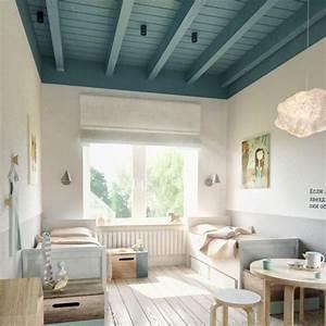 Peindre Un Plafond Facilement : peindre un plafond en couleur pour dynamiser sa d co ~ Premium-room.com Idées de Décoration
