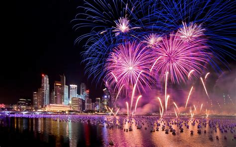 Singapore New Years Eve Holiday Fireworks City At Night Hd ...