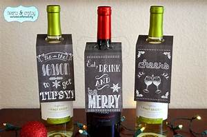 Christmas holiday chalkboard style wine bottle gift tags for Custom wine bottle tags