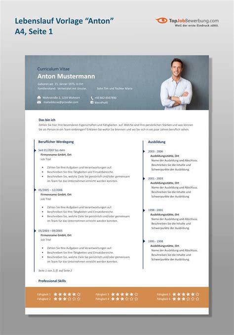 Vorlage Professioneller Lebenslauf by Profi Lebenslauf Vorlage Quot Anton Quot Im A4 Format Mit Breitem