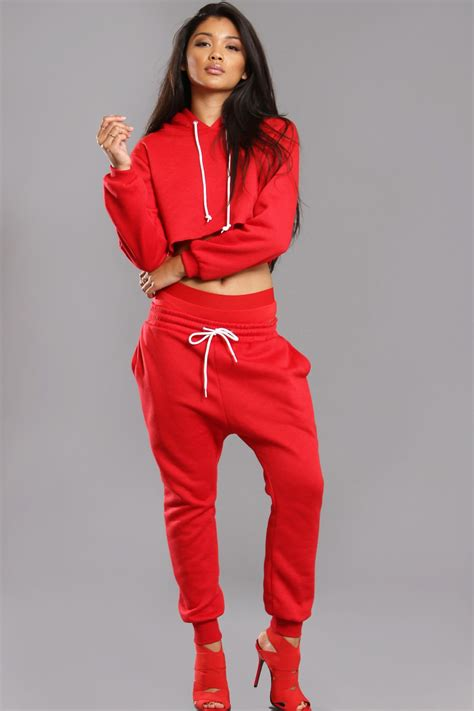 Red Nike Sweat Suits Women