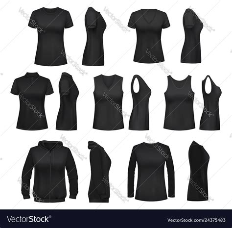 Any gender female male male & female. Female clothes isolated mockups t-shirt Royalty Free Vector