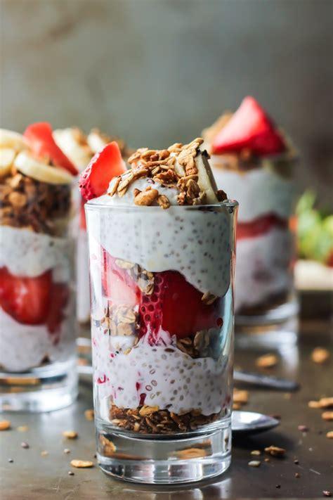 strawberry banana chia seed pudding parfait fit mitten