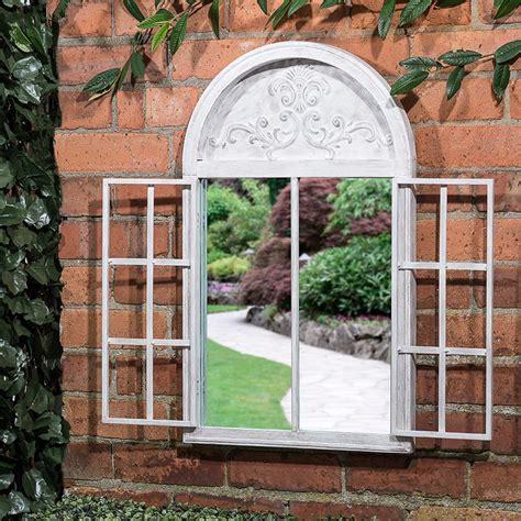 shutter door arched garden mirror garden decorations bm