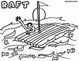 Raft Coloring Sea sketch template