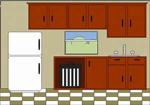 Interior clipart kitchen room - Pencil and in color