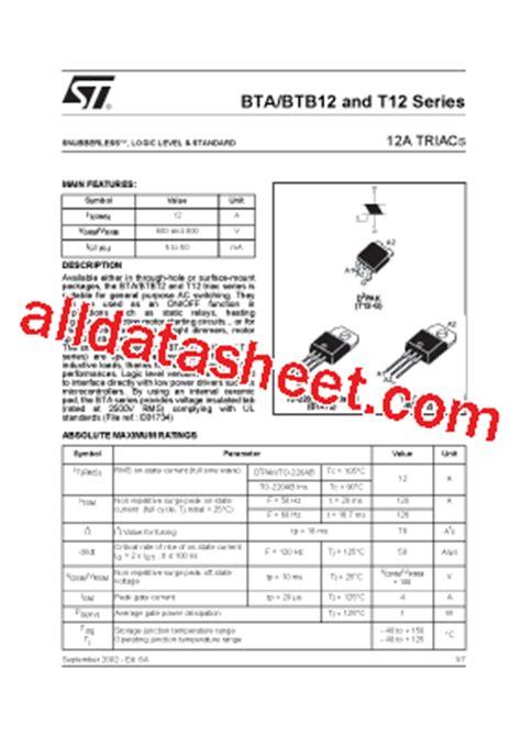 BTA12-600B Datasheet(PDF) - STMicroelectronics