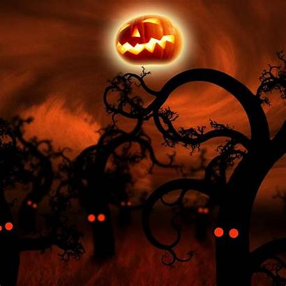 Halloween Ipad Spooky Forest Wallpapers Trees Eyes