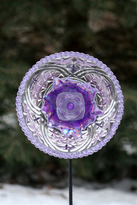 upcycled garden glass flowers    plates
