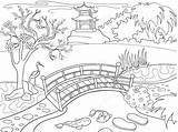 Coloring Landscape Pond Garden Japanese Nature Koi Fish Cartoon Walk Park sketch template
