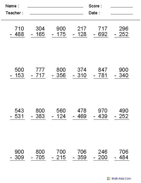 subtraction across zero worksheets math aids
