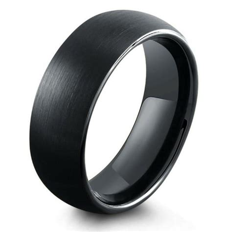 mm  black brushed tungsten wedding band northernroyal