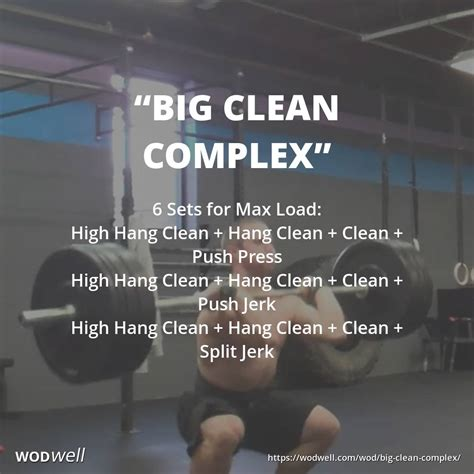 wod crossfit clean push complex hang press jerk workout wods barbell split wodwell workouts load max routines sets prison