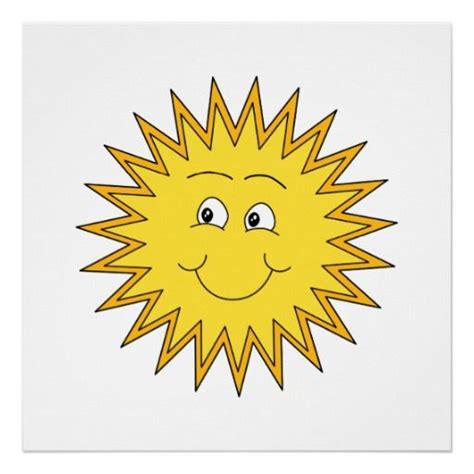 Yellow Summer Sun with a Happy Face. Poster   Zazzle.com ...
