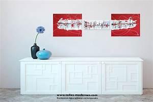 Tableau Plusieurs Panneaux : triptyque abstrait rouge rectangle grandes dimensions ~ Teatrodelosmanantiales.com Idées de Décoration