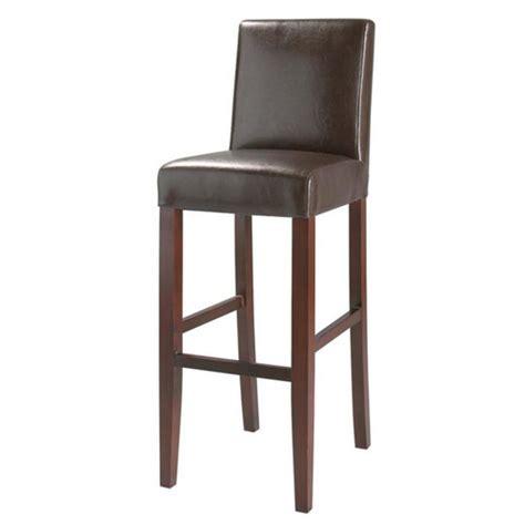 chaise de bar imitation cuir  bois marron boston maisons du monde