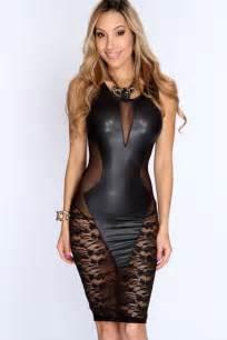 dl black faux leather floral lace mesh little black club dress