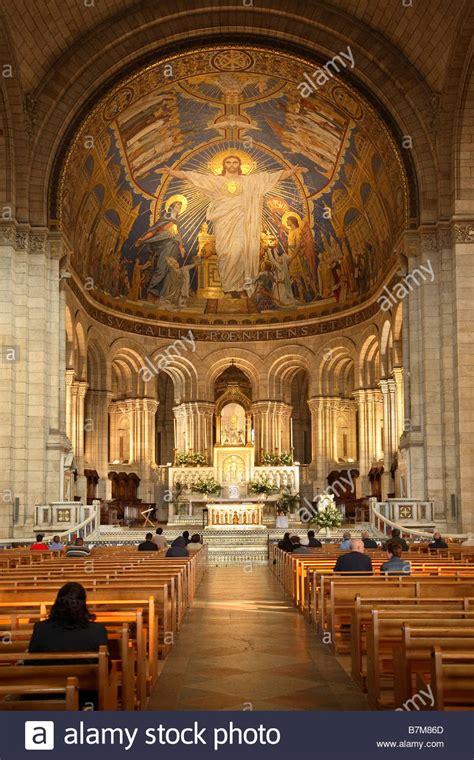 interior  sacre coeur basilica  montmartre stock photo