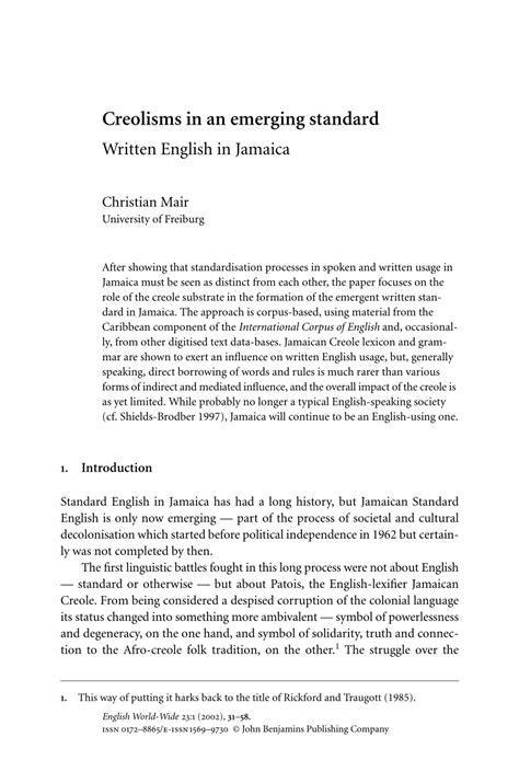 (PDF) Creolisms in an emerging standard: Written English