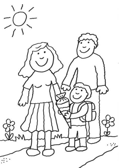 Kostenlose Malvorlage Einschulung Schulkind Mit Eltern