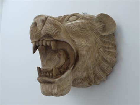 wall mounted wooden lion head  detailed features cm
