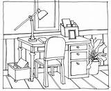 Drawing Table Perspective Chairs Desk Chair Line Drawings Office Hand Sitting Desks Interior Cartoon Thinking Getdrawings Colouring Point Architecture sketch template