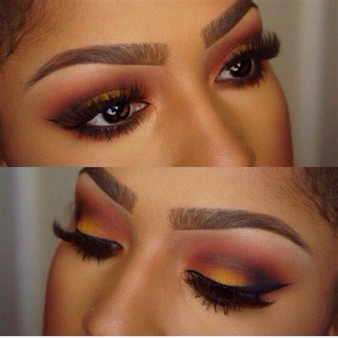 gorgeous sunset eye makeup  brown skin makeup  brown eyes brown skin makeup eye