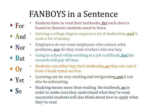 fanboys   sentence materials  learning english