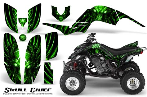 yamaha raptor 660 creatorx graphics kit skull chief green creatorx graphics mx atv decals