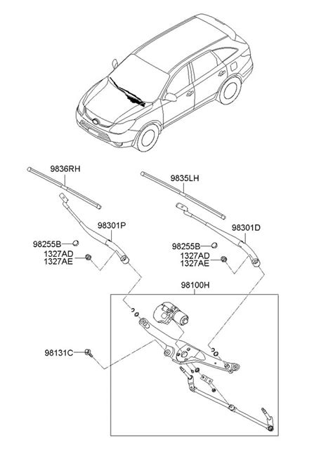 electric and cars manual 2010 hyundai veracruz windshield wipe control 2011 hyundai veracruz blade assembly wiper passenger side oct electrical 983603j003