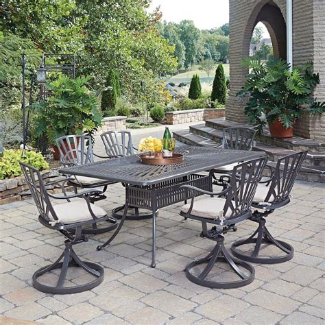 7 patio dining set home styles largo taupe 7 all weather patio dining