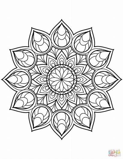 Mandala Coloring Flower Pages Printable Supercoloring Tegninger