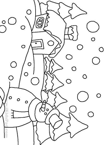 winter landscape coloring pages coloringsnet
