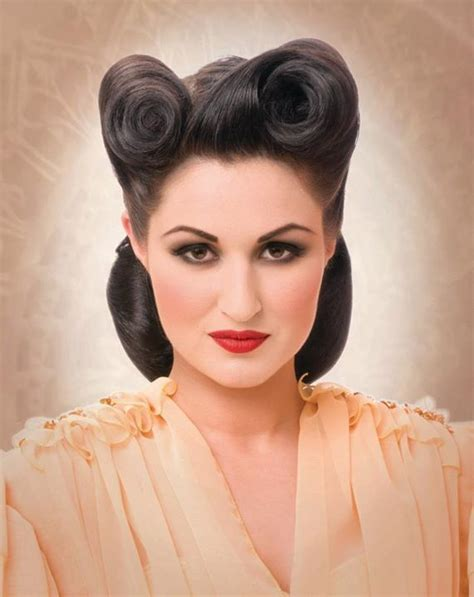 cute women victory rolls  classics hairstyles form