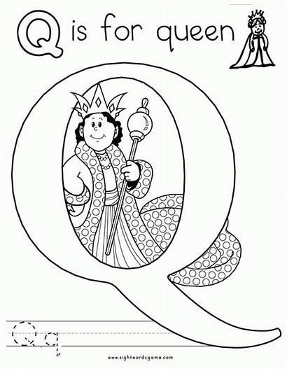 Letter Coloring Alphabet Worksheets Letters Queen Words