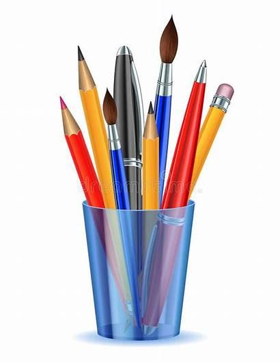 Pens Pencils Holder Vector Pencil Pen Brushes