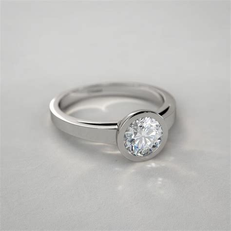 Style Modern Setting by Contemporary Bezel Set Solitaire Engagement Ring In