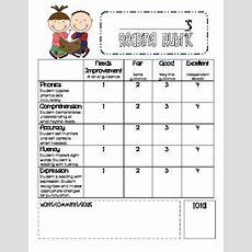 Reading Rubric For Primary Grades  Classroom Love  Kindergarten Reading, Reading Assessment