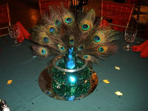 Peacock Decorations For Home: Peacock Centerpieces With Green And Red Settings- Raji