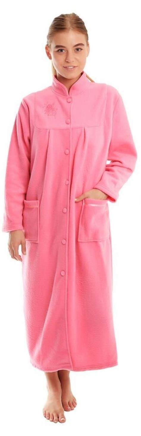 robe de chambre en anglais femmes polaire souple bouton manches longues front poches