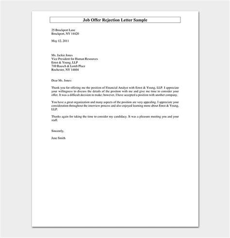 polite rejection letter format sample rejection letters